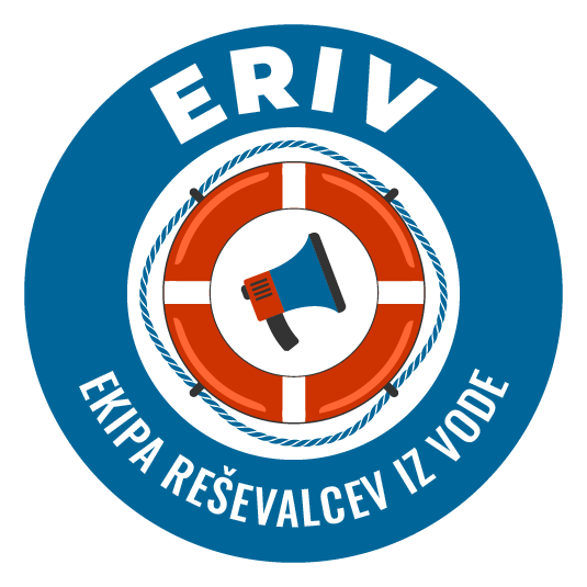 eriv ekipa reševalcev iz vode bela obroba logo